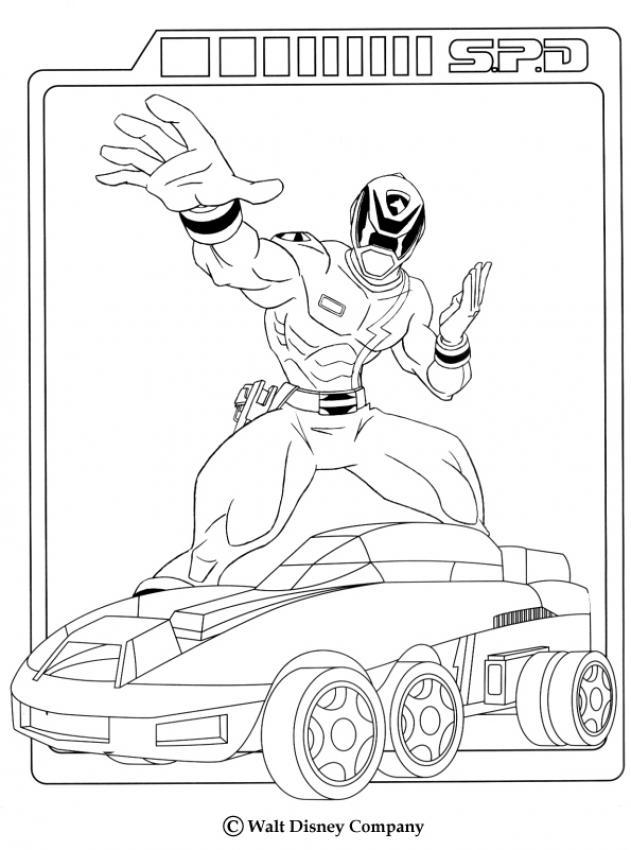 Coloriage Power Rangers Ranger Et Sa Voiture Clip Art Library
