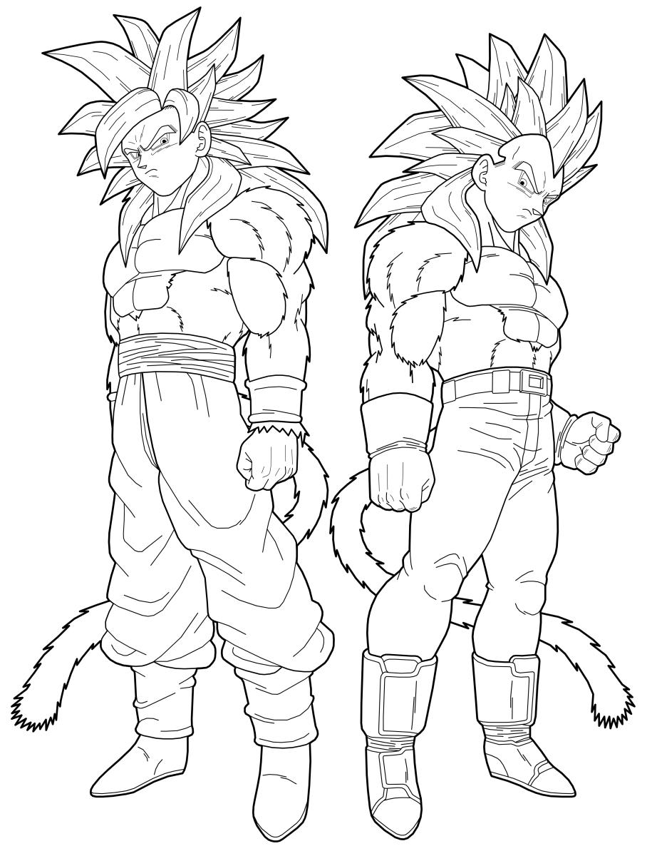 Chibi Goku Ssj4 Coloring Pages Black And White Goku Clip Art