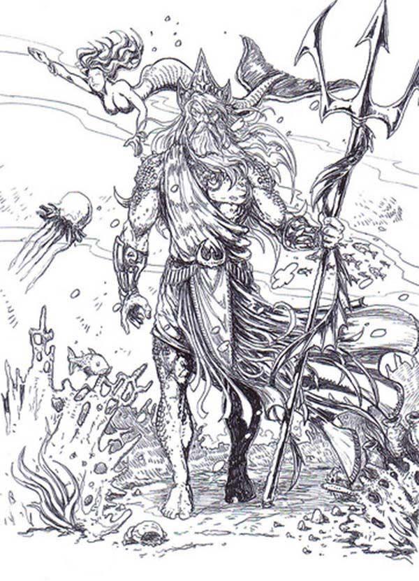 The Sea God Poseidon From Greek Mythology Coloring Page Free