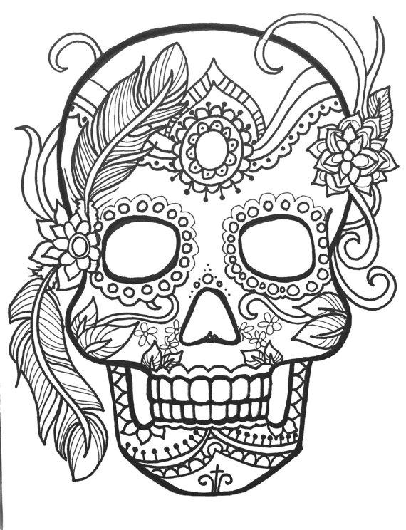 Printable Sugar Skull Coloring Pages Clip Art Library