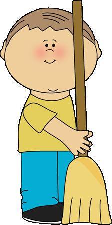 Boy Classroom Sweeper Clip Art