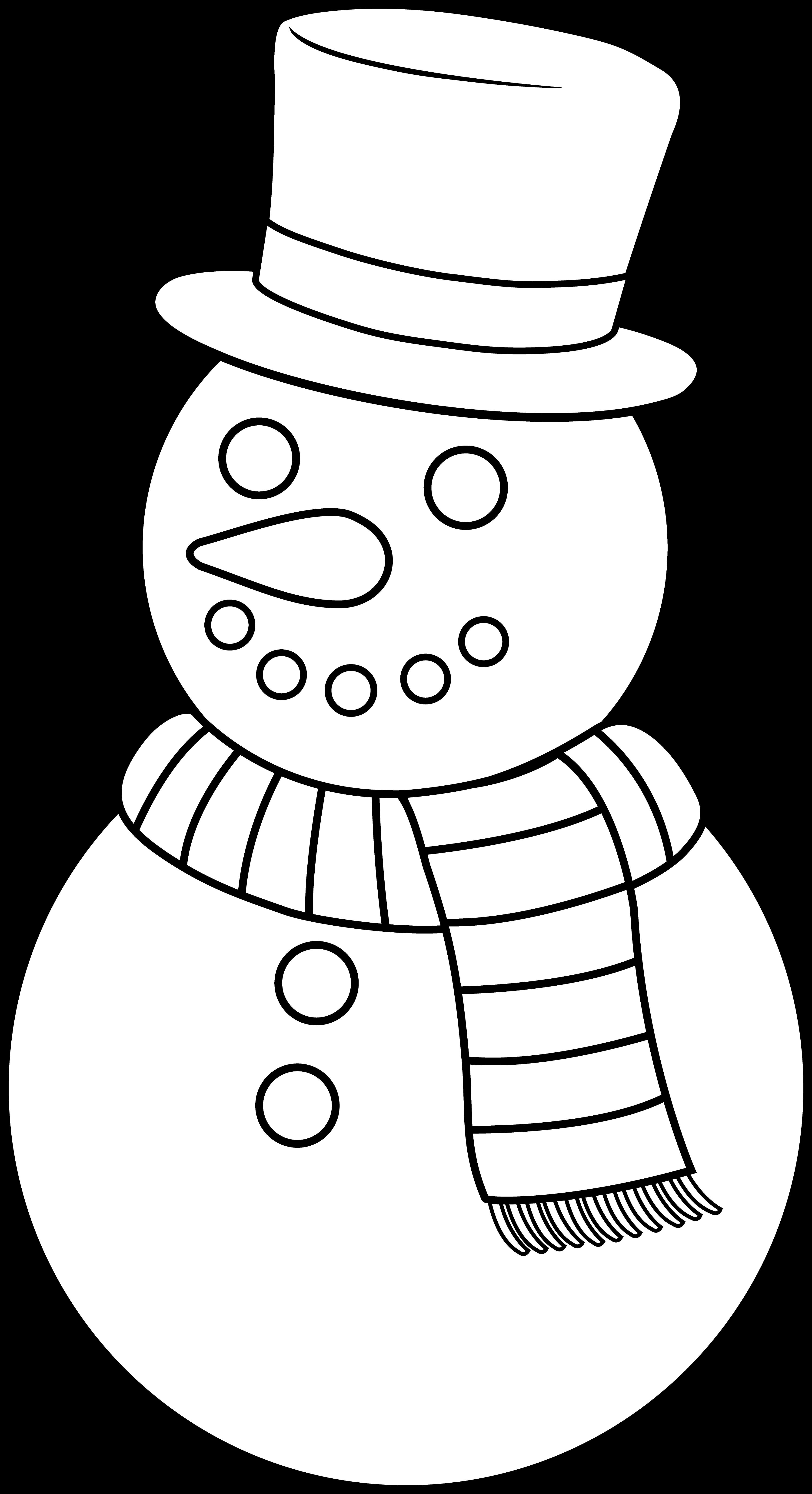 Snowman scarf outline clipart