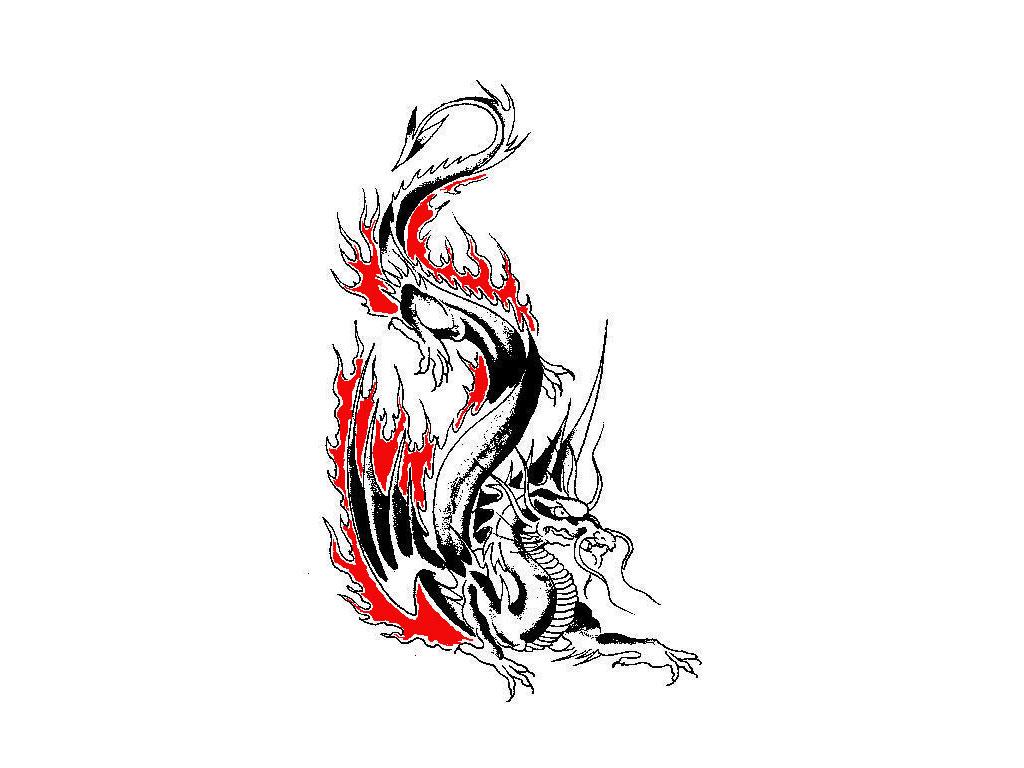 Дракон в огне тату картинки