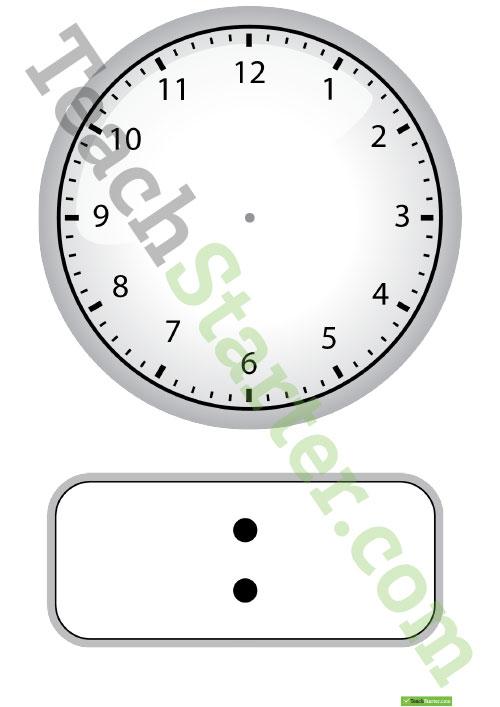 blank digital and analogue clock worksheet teaching resource
