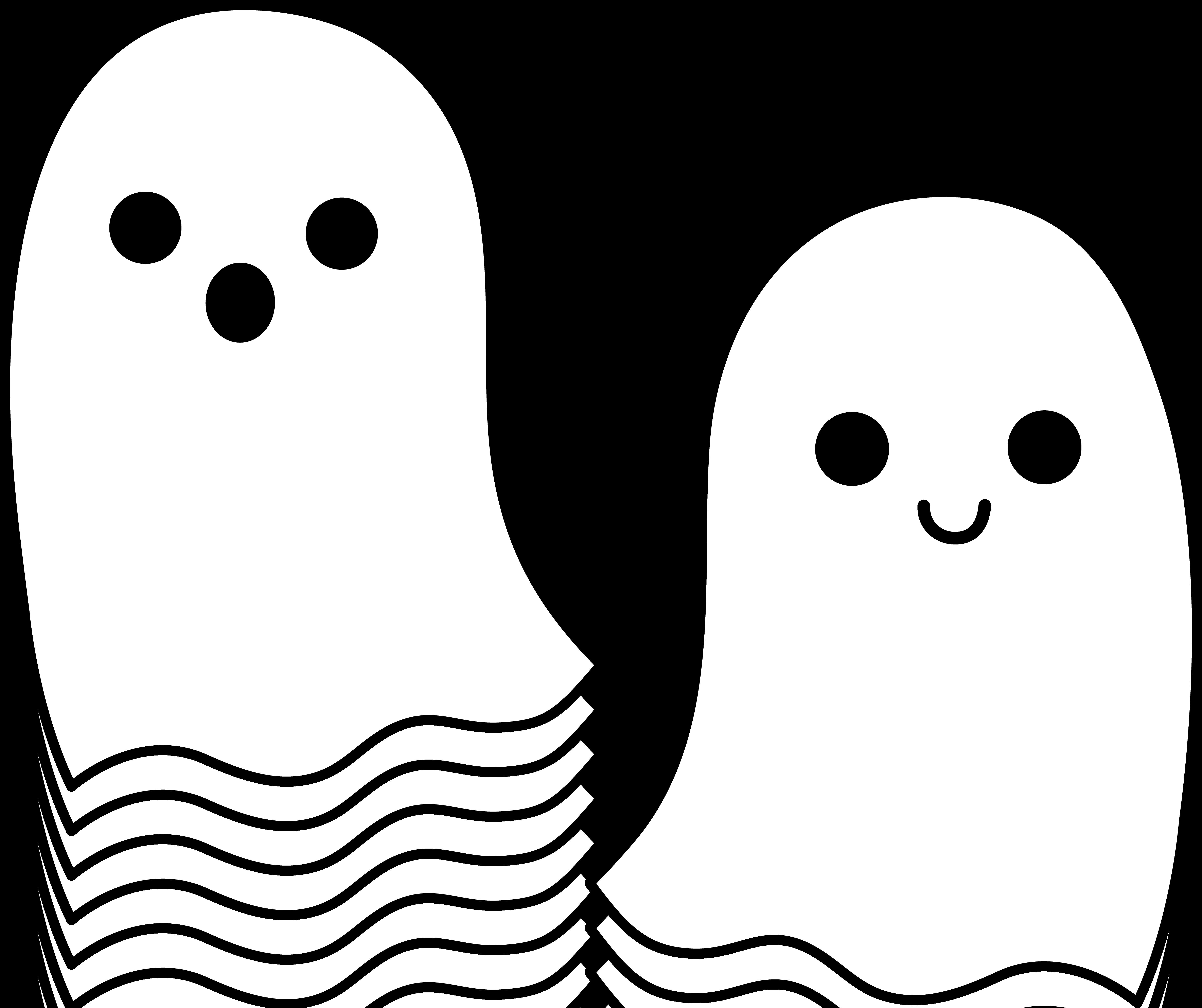 Cute Simple Halloween Ghosts - Free Clip Art