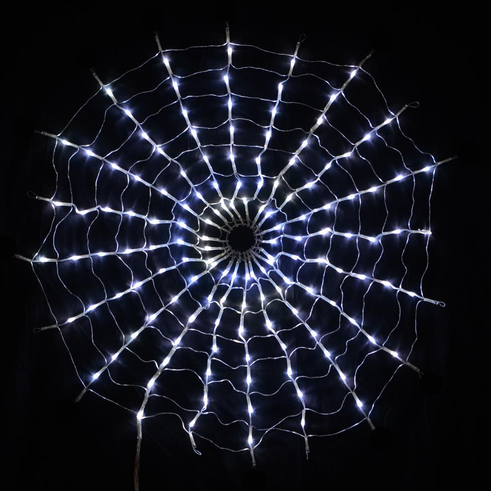 160 Led Multi Function White Spiders Web Net Lights Christmas