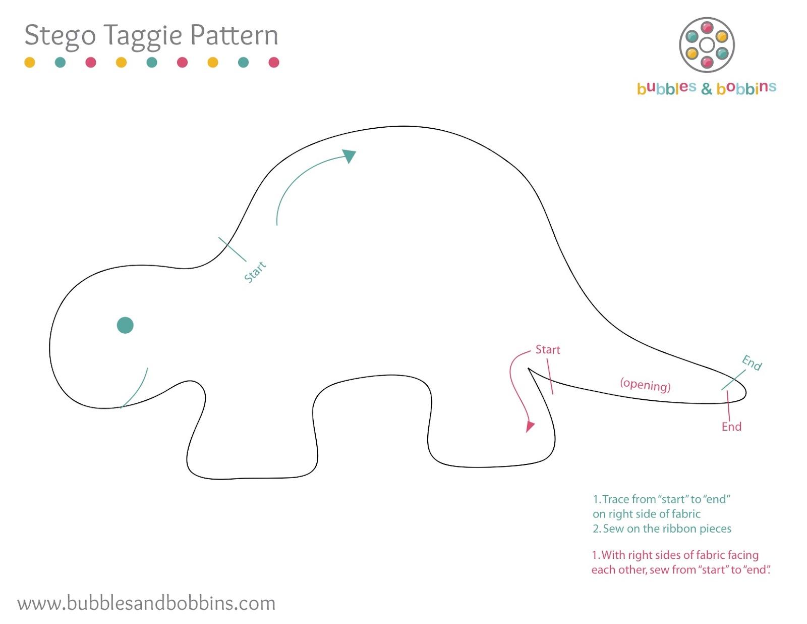 Dinosaur Taggie Toy Pattern Jpg