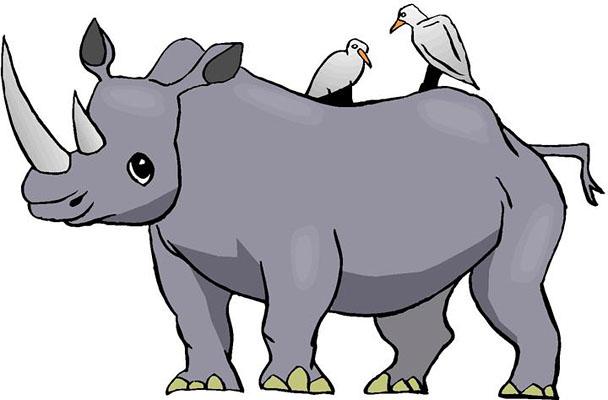 rhino waving a happy cartoon and smiling clipart - free clip art