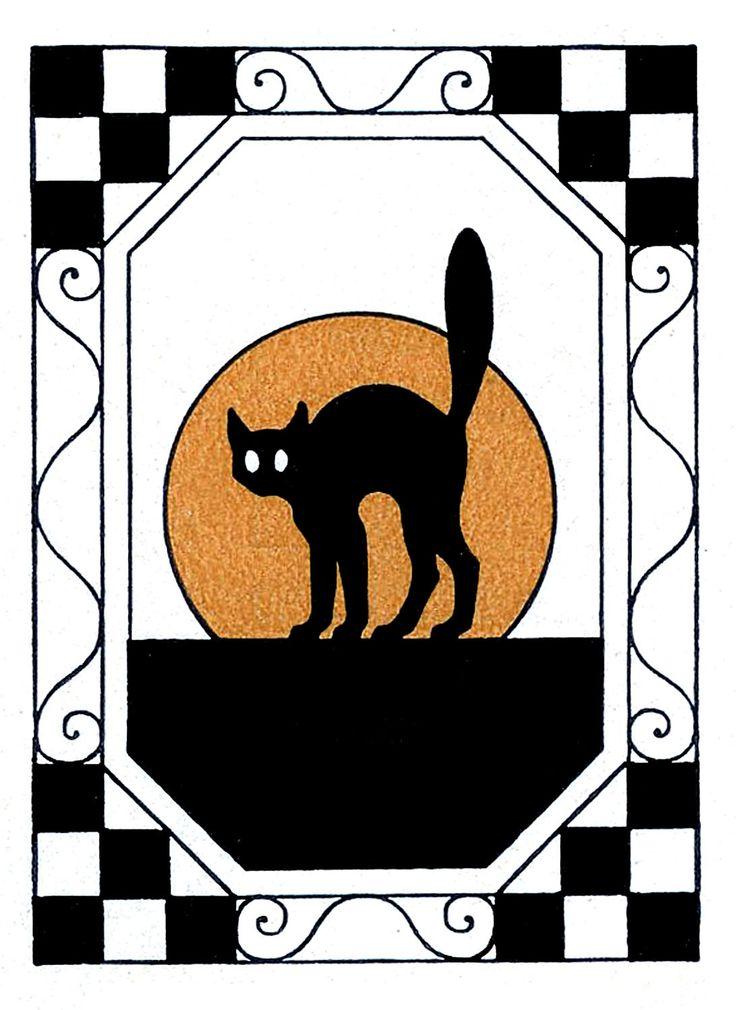 Vintage Halloween Clip Art Black