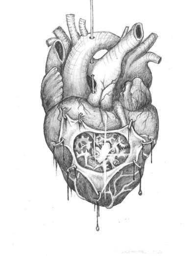 Organs Do Not Love | Teen Pen Ink About heart, human heart  Realistic