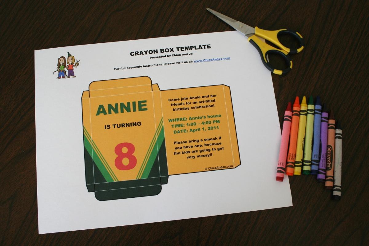 Custom crayon box invitation