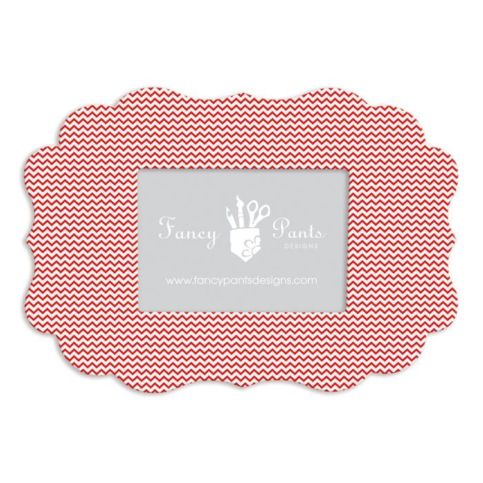 Fancy Pants Designs - 5 x 7 Frame - Scallop Bracket - Red Mini Chevron