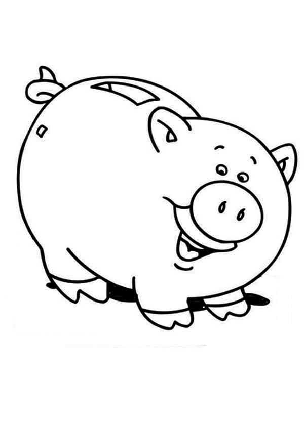 Free Piggy Bank Black And White