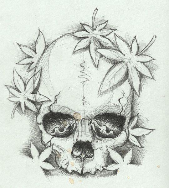 Simple Skull Sketch Drawing With Marple Leaves Tattoosk Clip