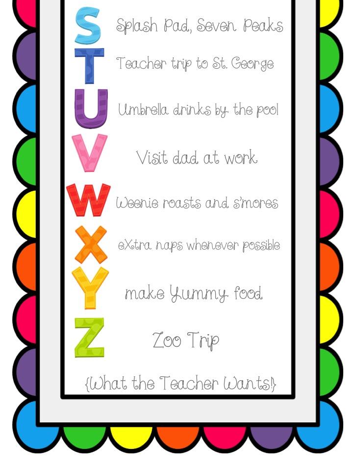 What the Teacher Wants!: Summer Bucket List - ABC Style