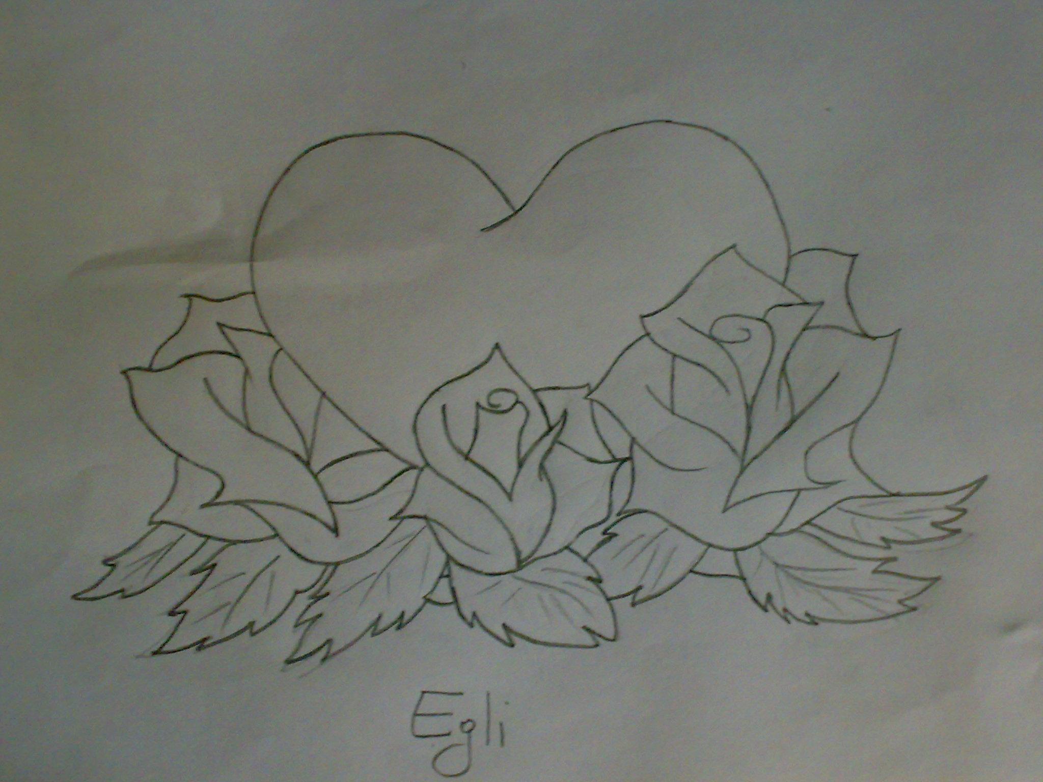 Картинки для срисовки цветы и сердечки