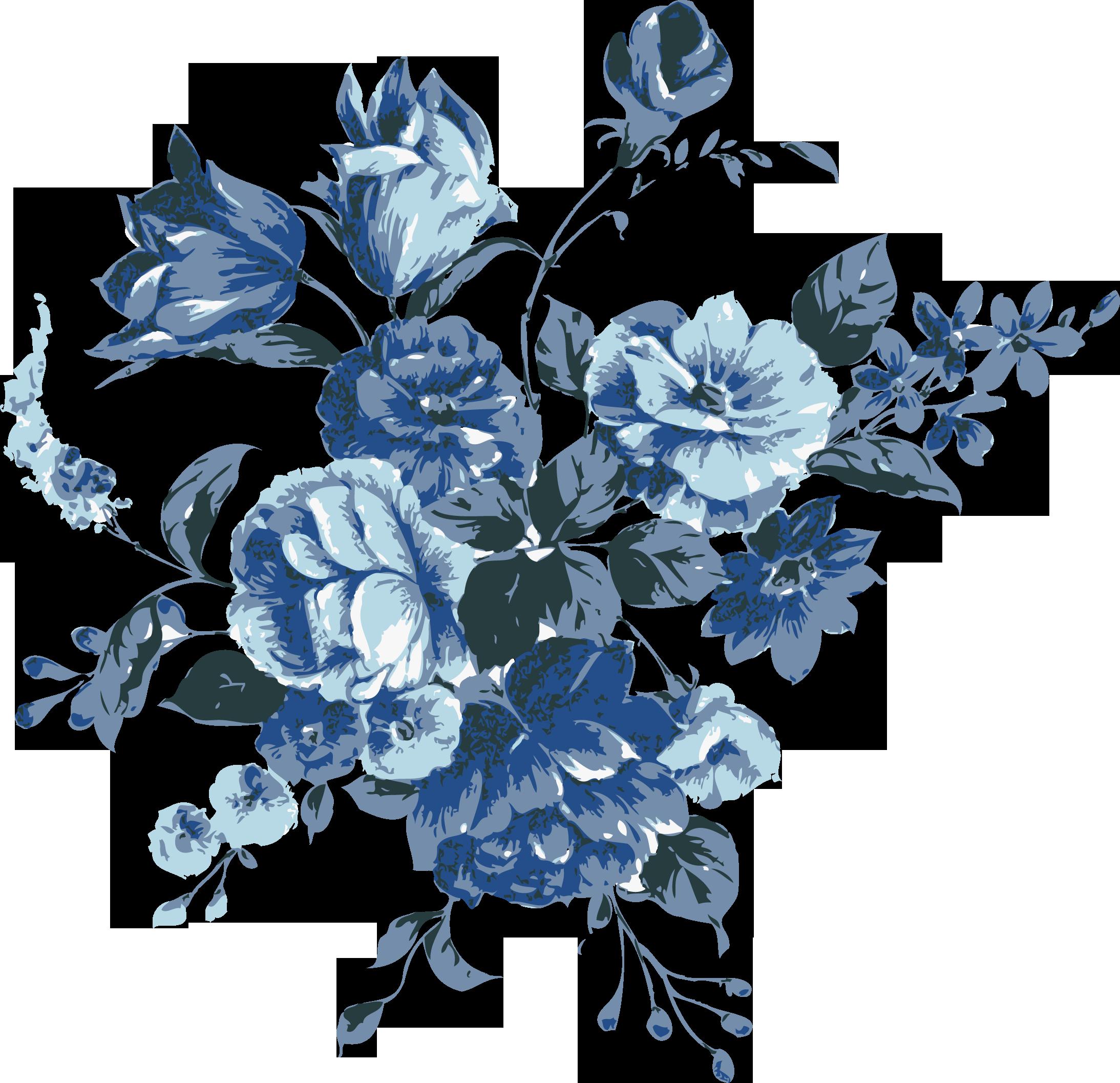 Flower Blue Clip Art Floral Vintage Png Download 2187 2114
