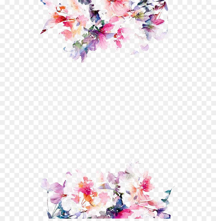 Iphone 5s Flower Paper Wallpaper Watercolor Flowers Border Png