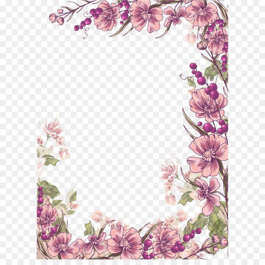 Flower Floral Design Euclidean Vector Illustration Ink Purple