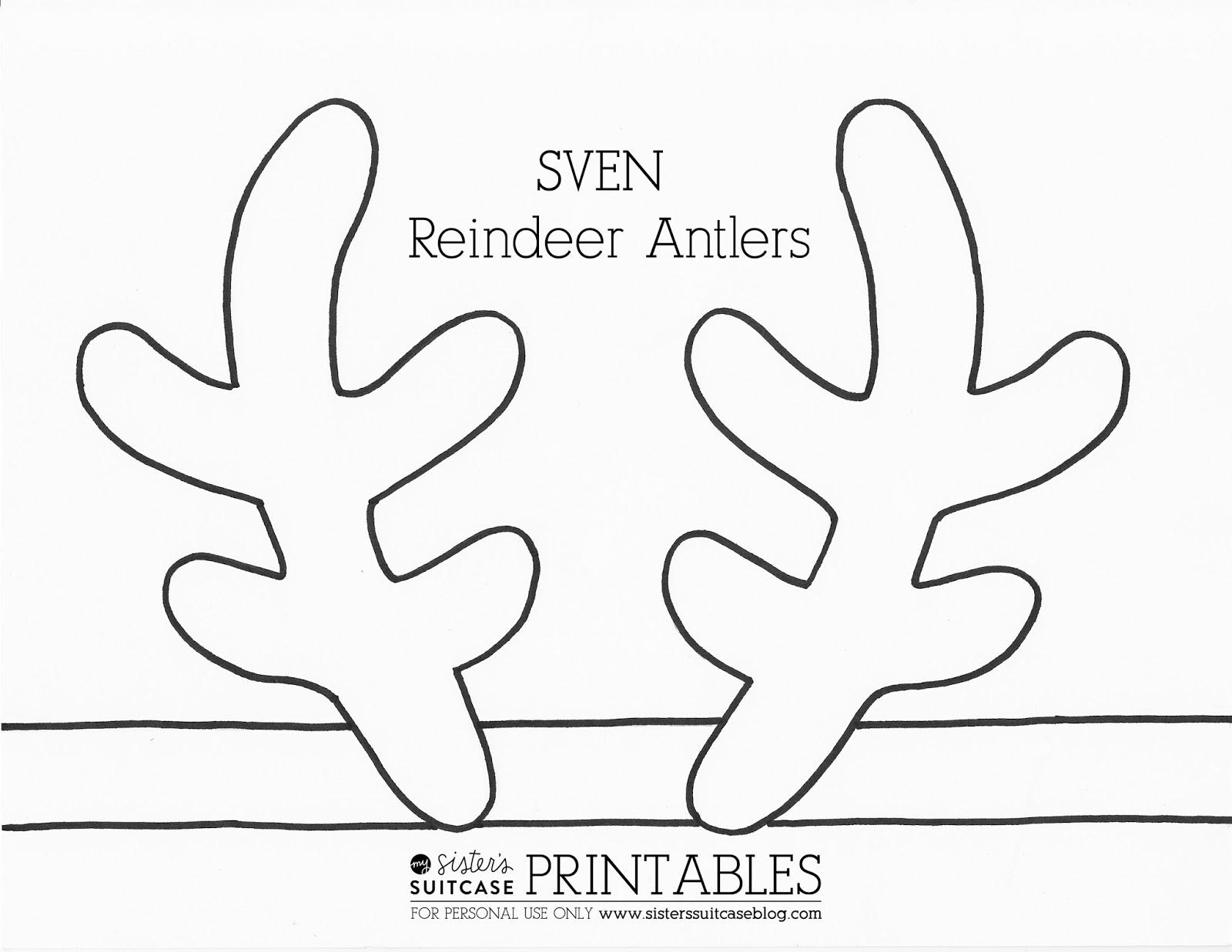 It is an image of Printable Reindeer Antler within printable template