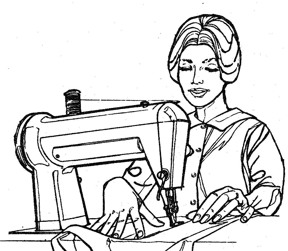 драки рисунок швея за швейной машинкой следует