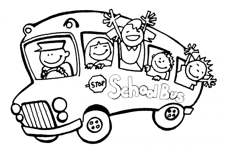 School Bus Coloring Page Clip Art Library