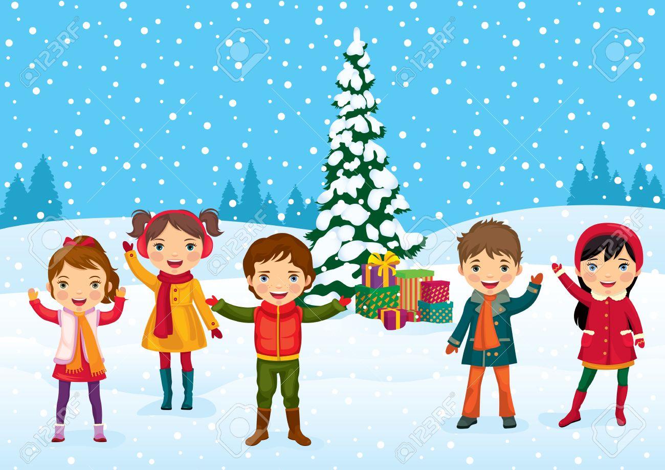 Children Celebrating Christmas Clipart