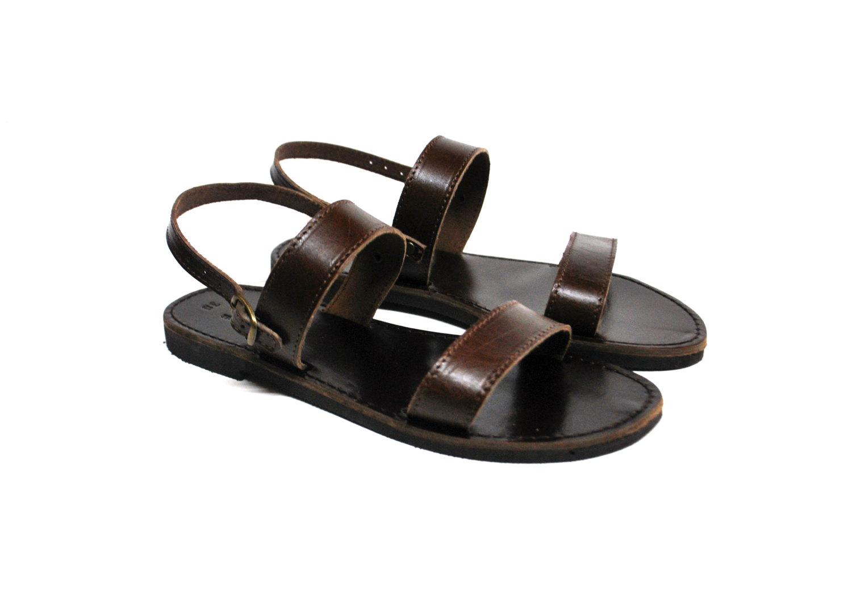Mens Strappy Sandals Leather Dark Brown Slides By