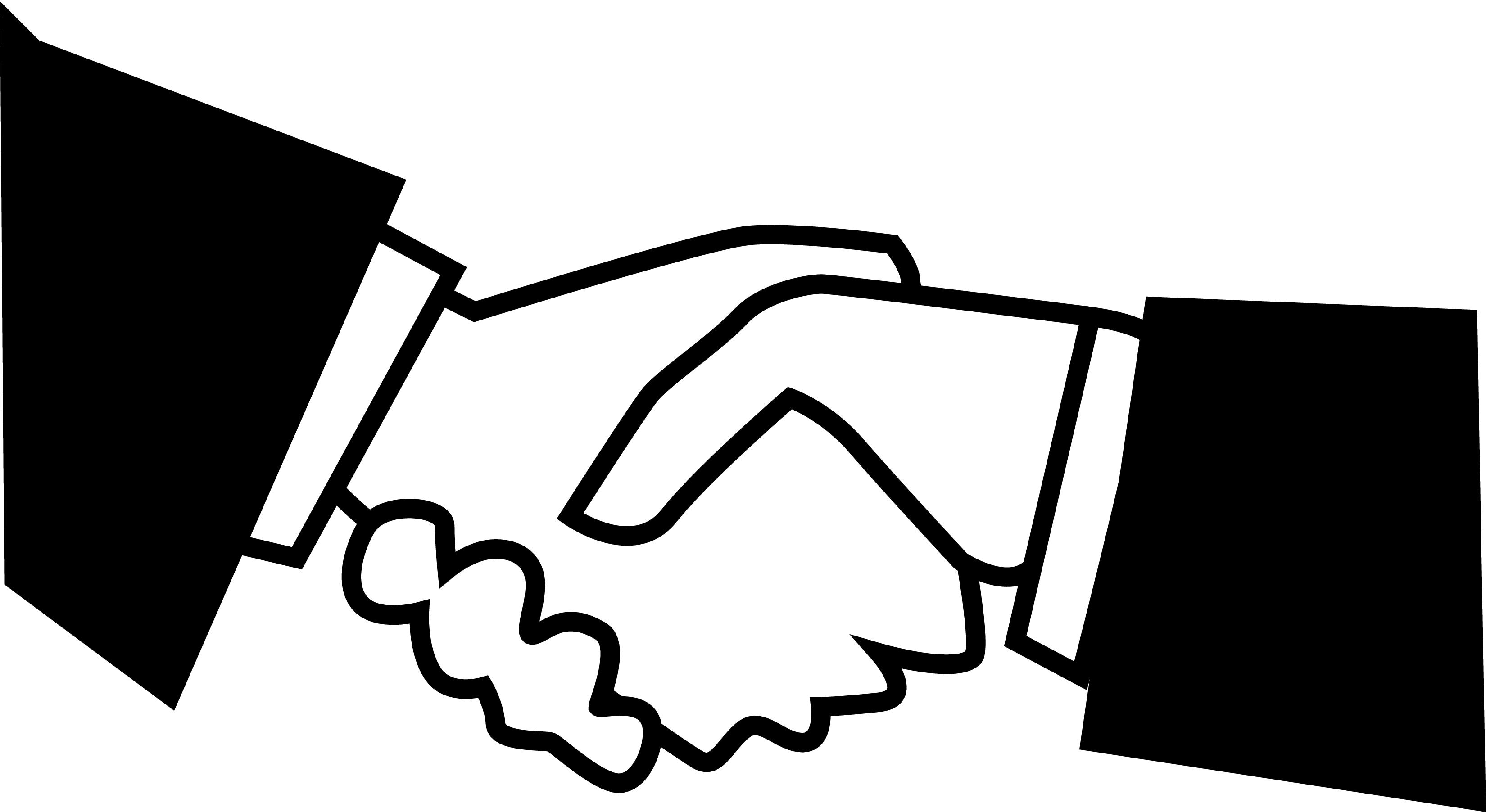 Black White Handshake Clipart