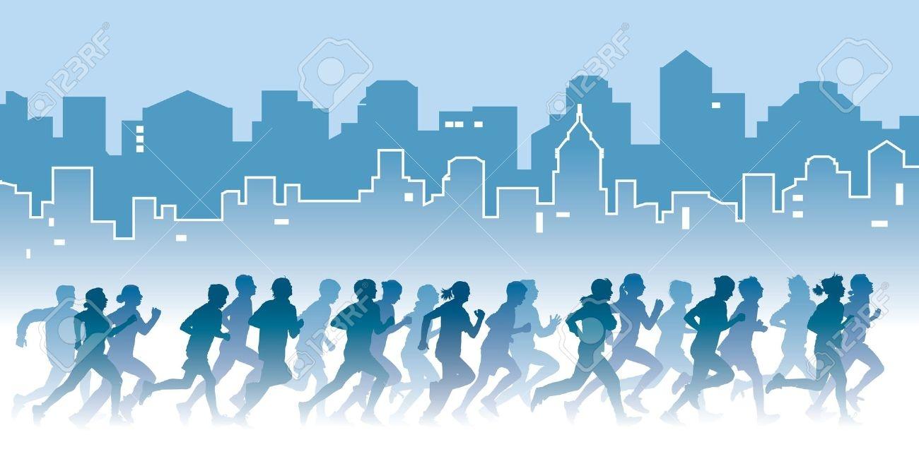 толпа бегущих людей мультяшная картинка этой итальянской