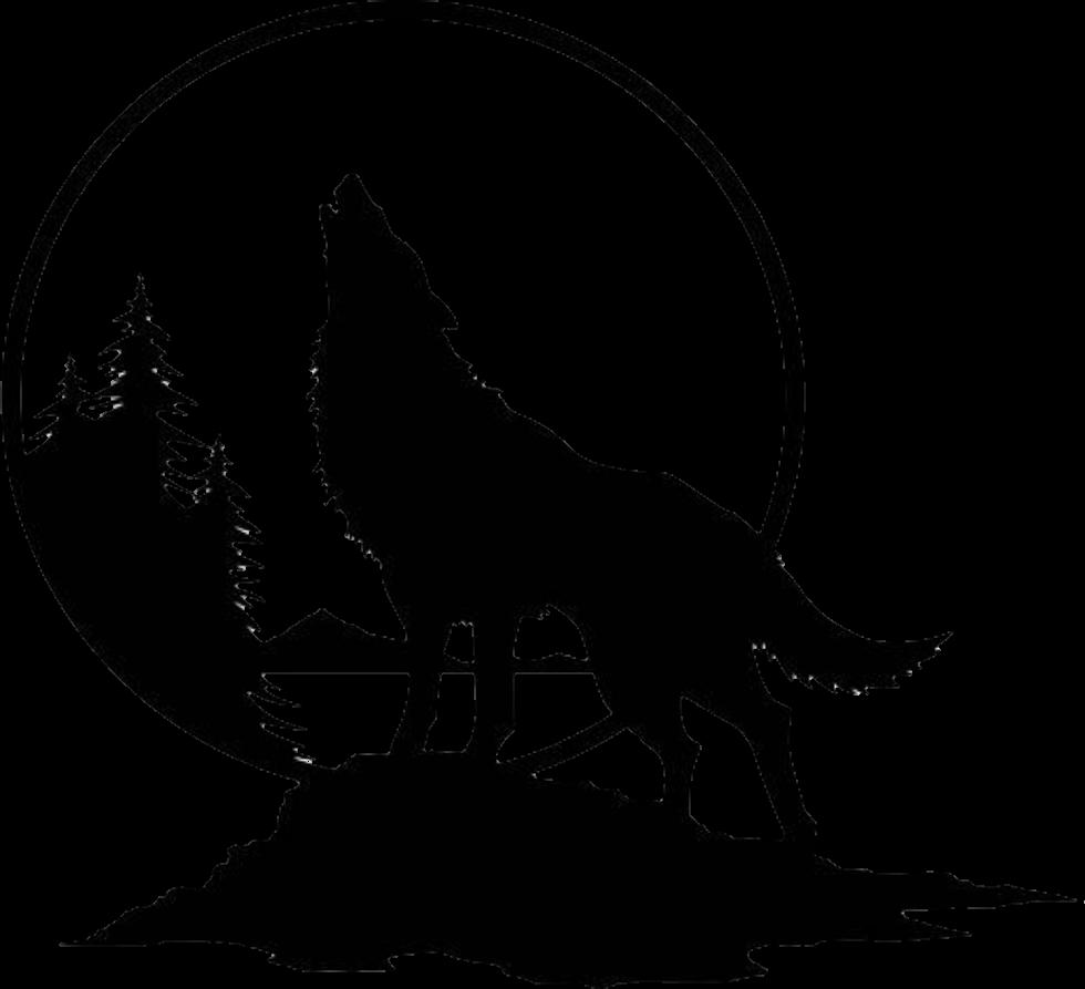 картинка для выжигания волк воет на луну для